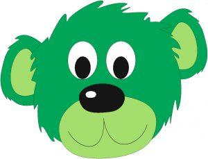 zielony miś
